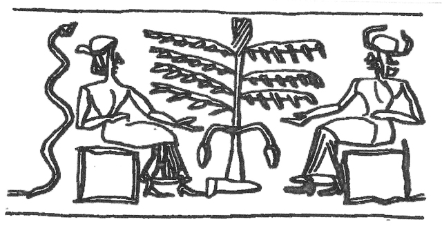 Old Babylonian cylinder seal depicting god and goddess by a sacred tree with fruit (date palm) with erect serpent behind the goddess. Early interpreters thought this image reflected a predecessor myth of the Eden story, but so far no such myth has been found.