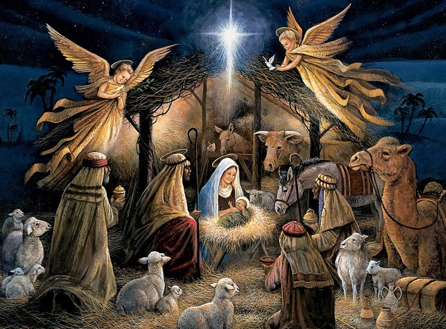 Divine Child in Manger and Adoration of the Magi